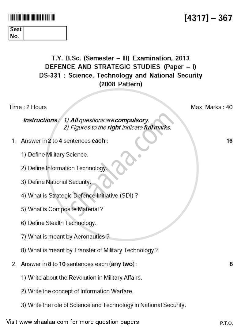 Science Technology and National Security 2013-2014 - B.Sc. - Semester 5 (TYBSc) - University of Pune question paper with PDF download