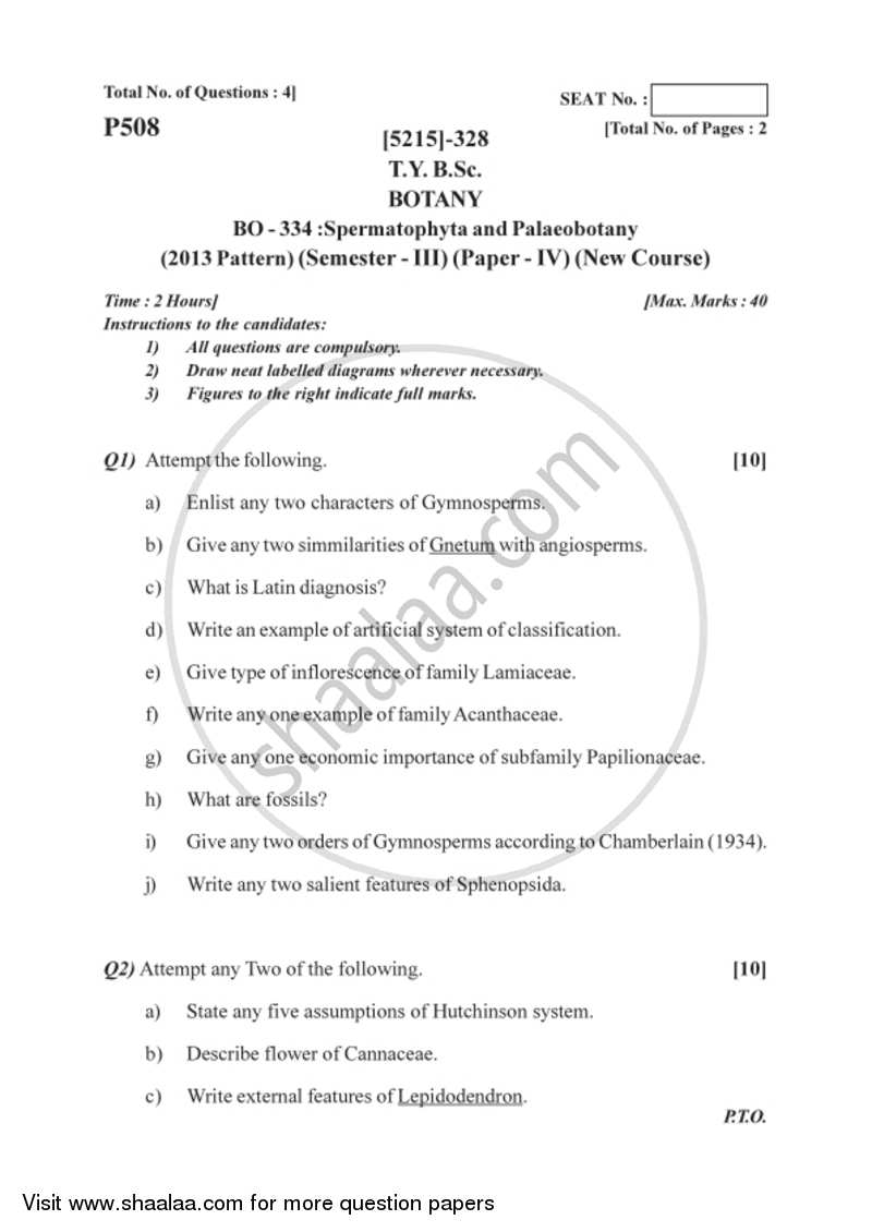 Spermatophyta and Palaeobotany 2017-2018 - B.Sc. - Semester 5 (TYBSc) - University of Pune question paper with PDF download
