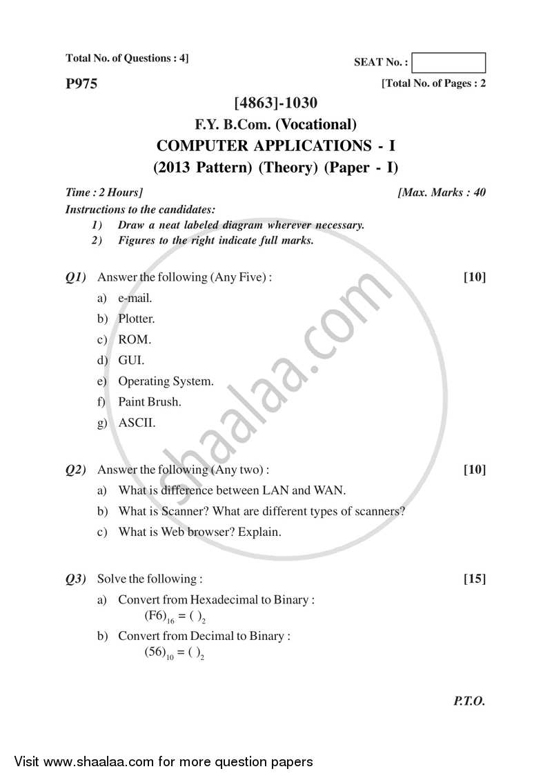 Computer Application 1 2015-2016 F.Y.B.Com Vocational - University of Pune question paper with PDF download