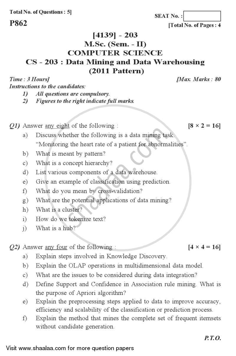Question Paper - Data Mining and Data Warehousing 2011 - 2012 Semester 2 - University of Pune