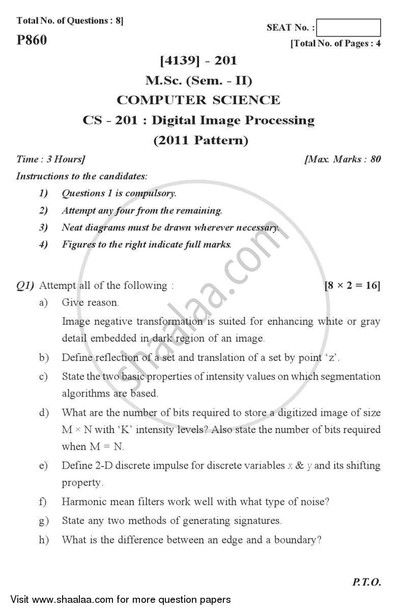 Question Paper - Digital Image Processing 2011 - 2012 Semester 2 - University of Pune