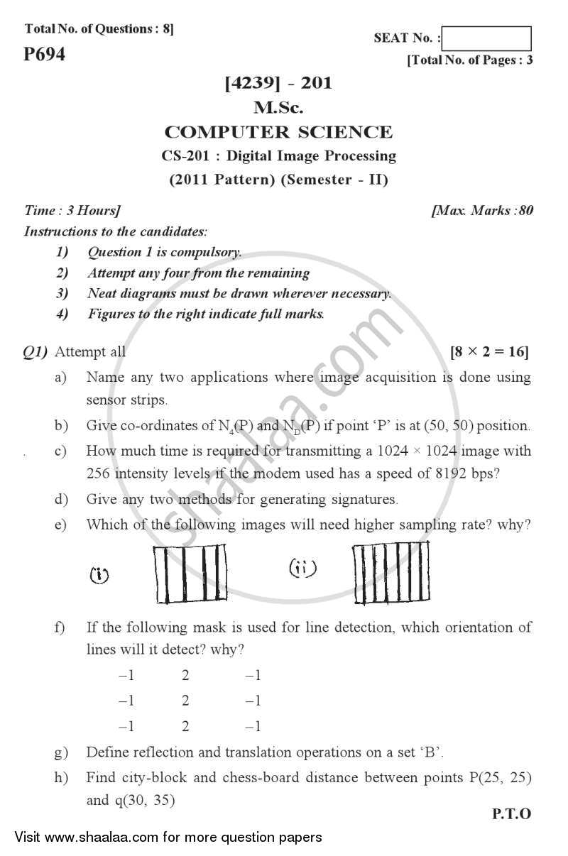 Question Paper - Digital Image Processing 2012-2013 Semester 2 - University of Pune with PDF download