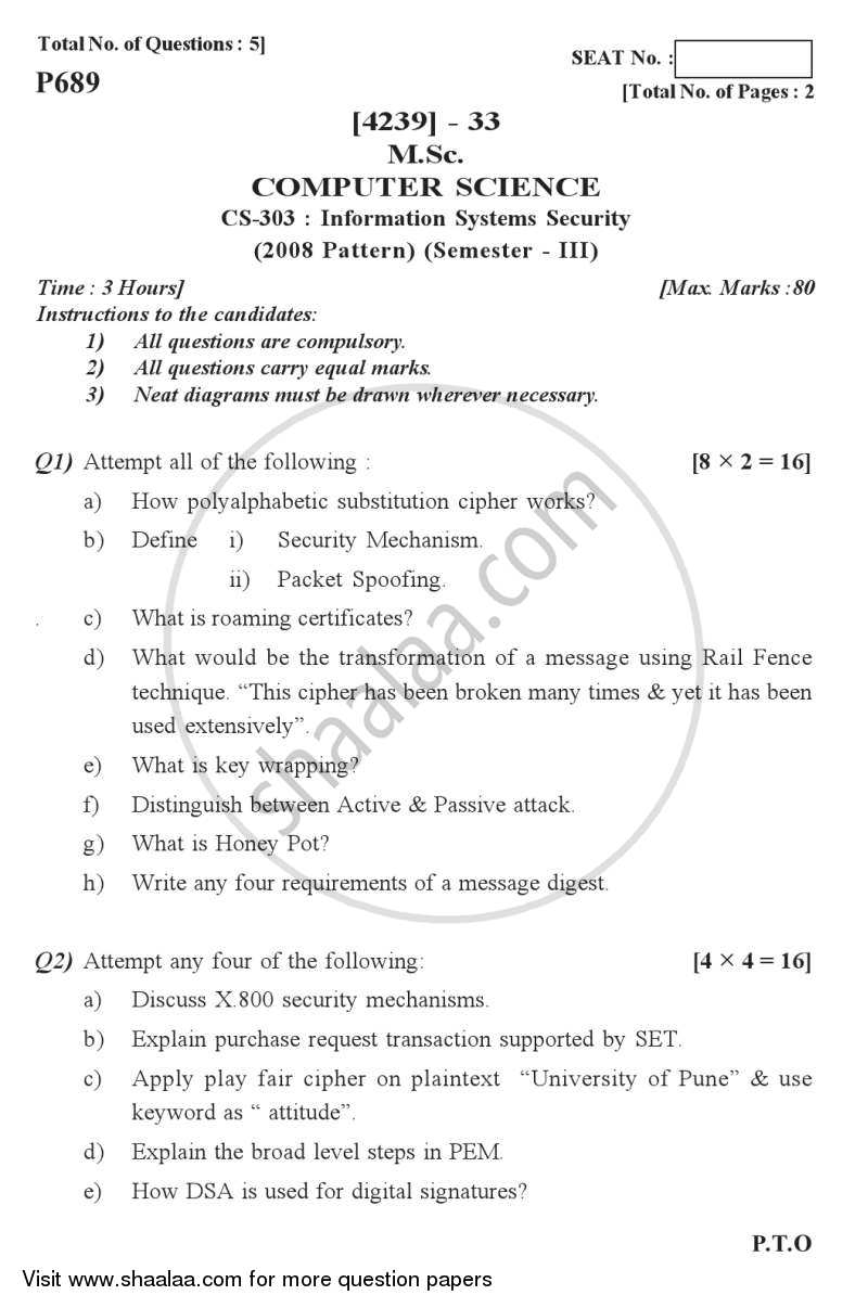 Question Paper - Information Systems Security 2012 - 2013 Semester 3 - University of Pune