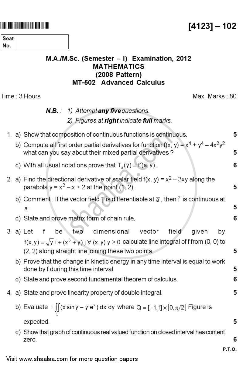 Question Paper - Advanced Calculus 2012 - 2013-M.A.-Semester 1 University of Pune