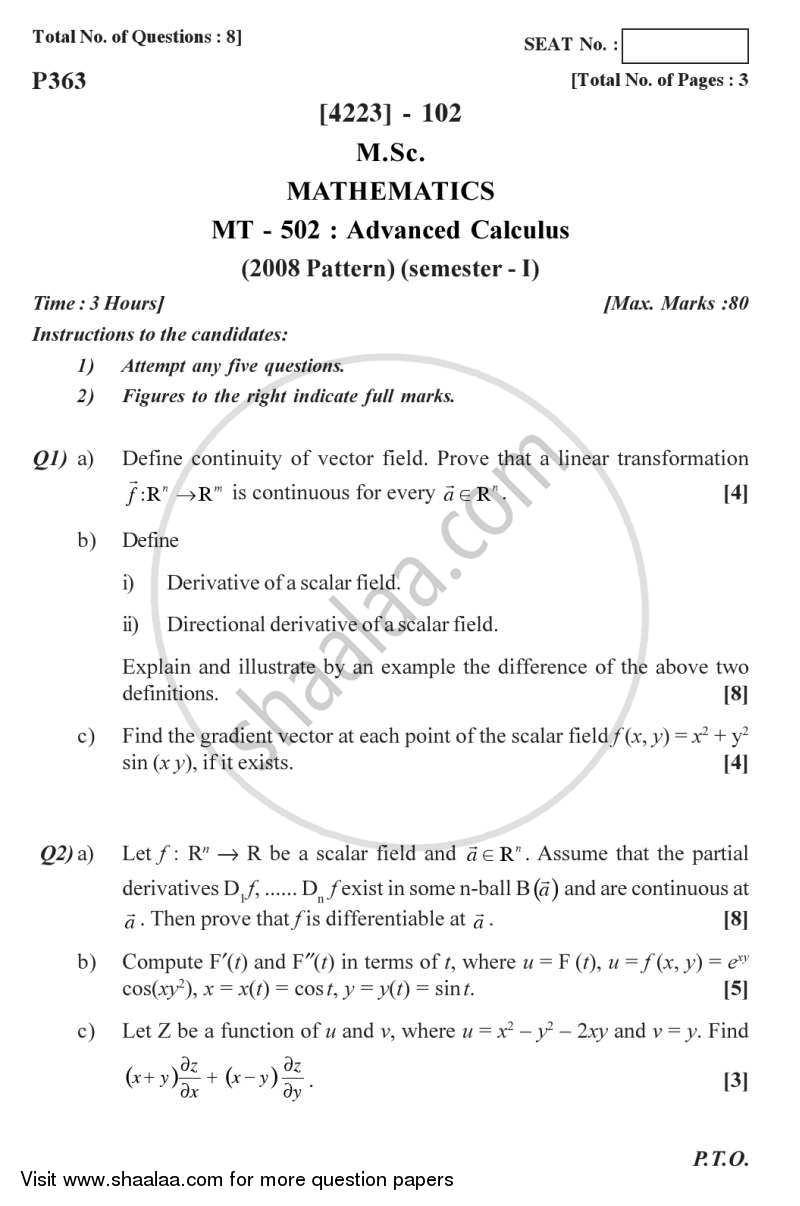 question paper advanced calculus 2012 2013 ma mathematics semester 1. Black Bedroom Furniture Sets. Home Design Ideas