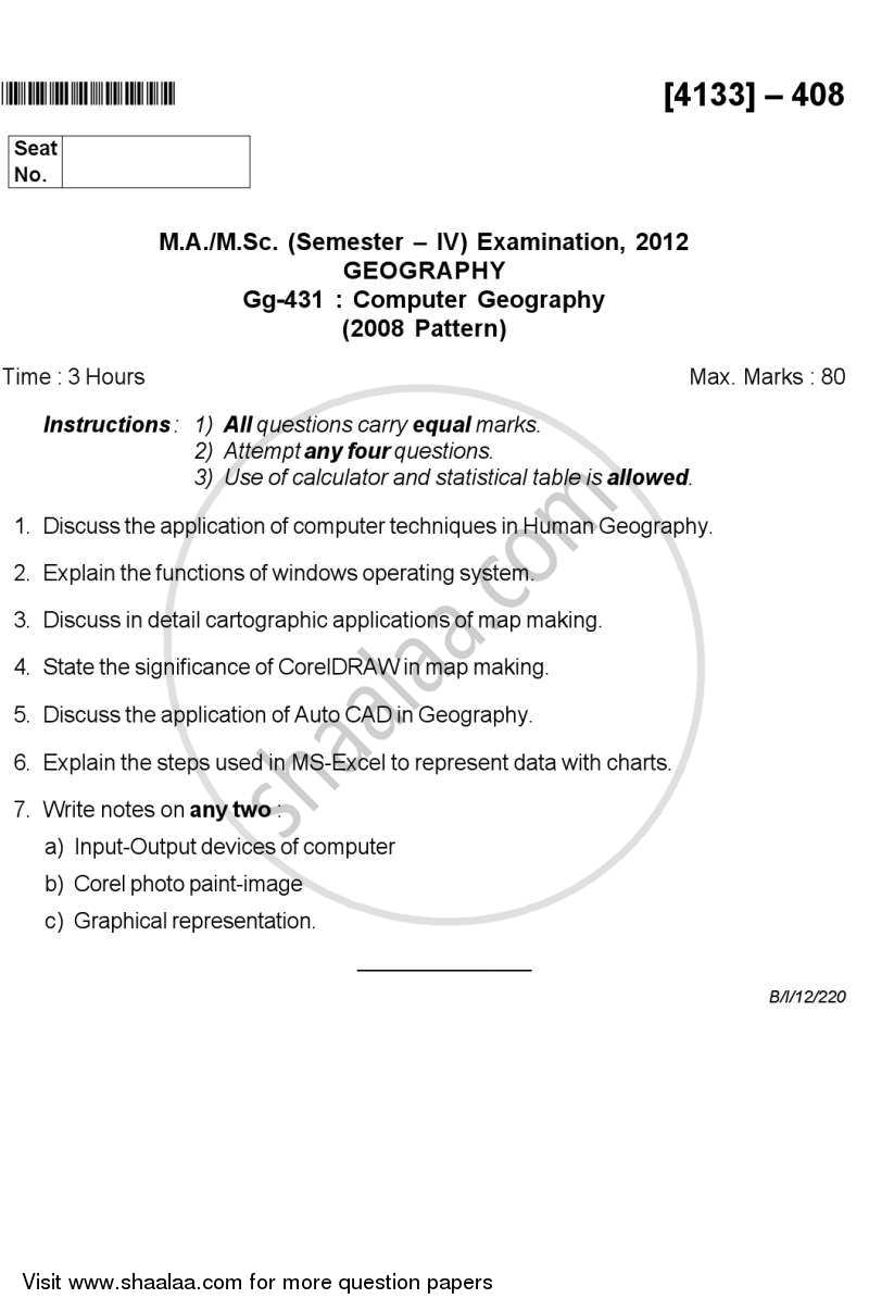 Question Paper - Computer Geography 2011 - 2012 - M.A. - Semester 4 - University of Pune