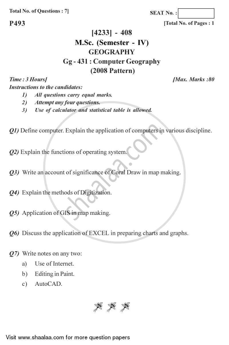 Question Paper - Computer Geography 2012 - 2013 - M.A. - Semester 4 - University of Pune