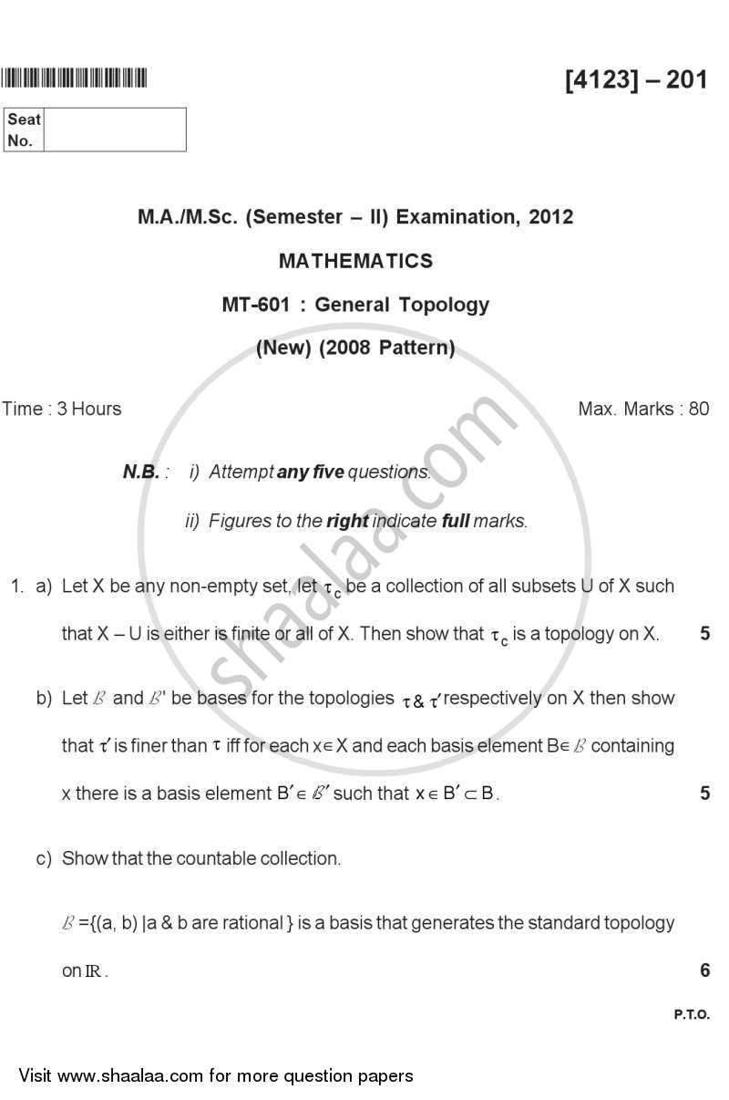 Question Paper - General Topology 2011 - 2012 - M.A. - Semester 2 - University of Pune