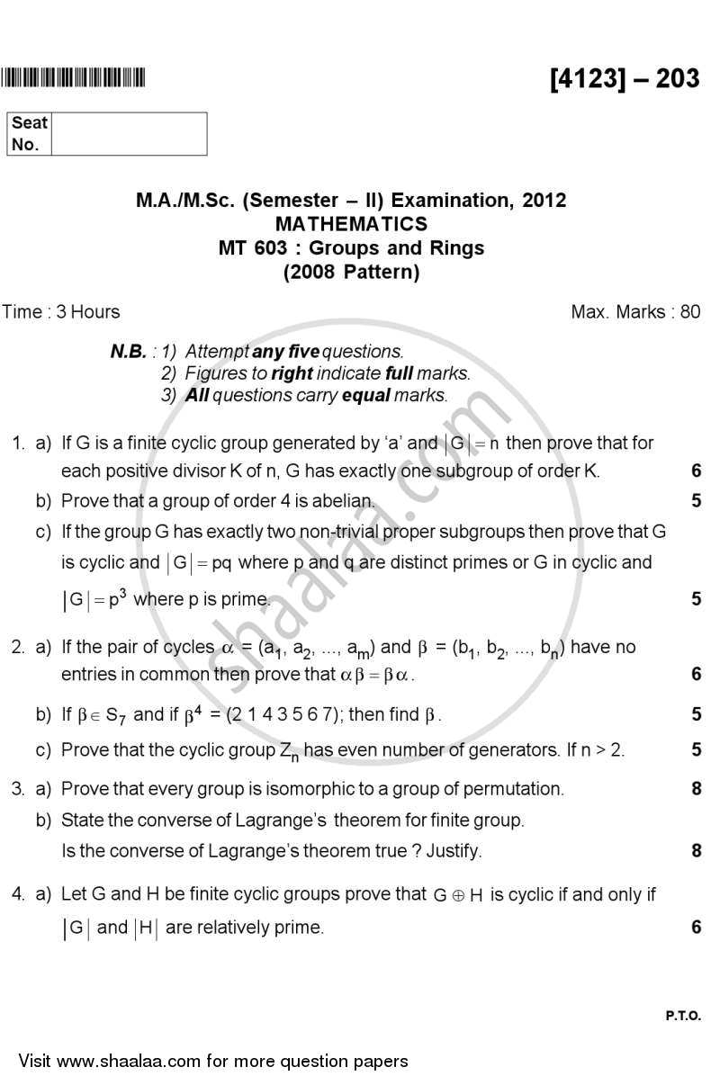 Question Paper - Groups and Rings 2011 - 2012 - M.A. - Semester 2 - University of Pune