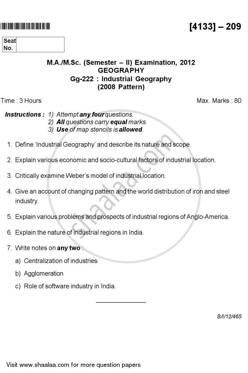 Question Paper - Industrial Geography 2011 - 2012 - M.A. - Semester 2 - University of Pune
