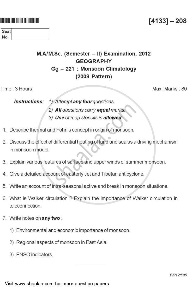 Question Paper - Monsoon Climatology 2011 - 2012 - M.A. - Semester 2 - University of Pune