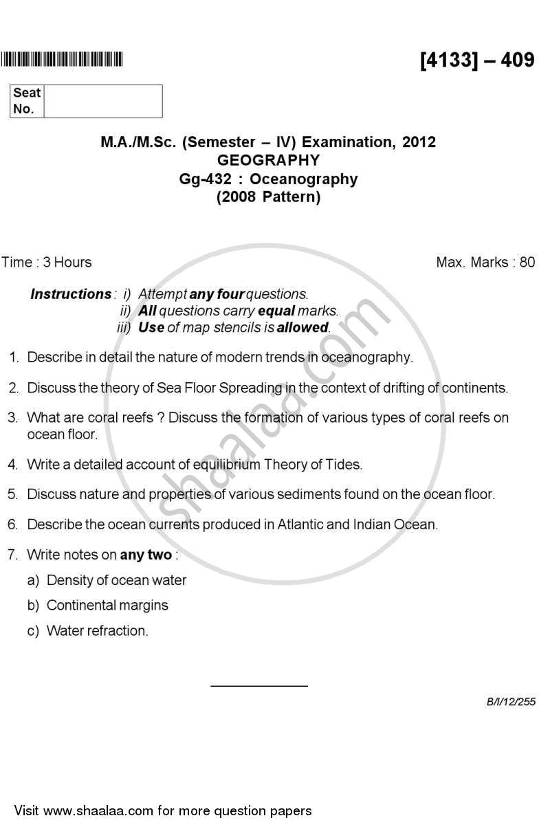 Question Paper - Oceanography 2011 - 2012 - M.A. - Semester 4 - University of Pune