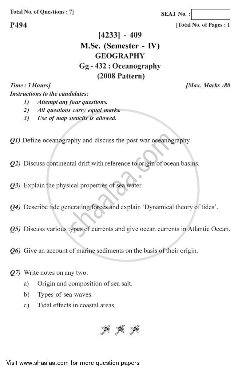 Question Paper - Oceanography 2012 - 2013 - M.A. - Semester 4 - University of Pune