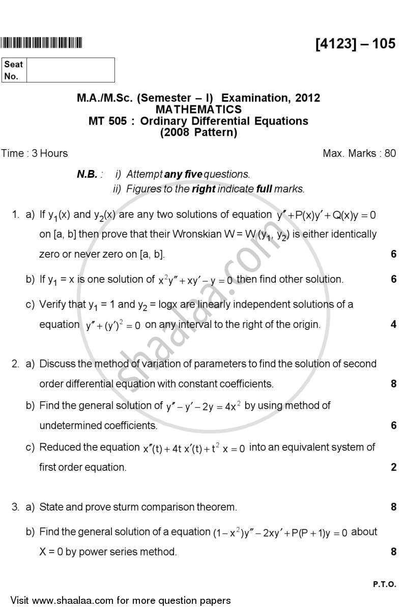 Question Paper - Ordinary Differential Equations 2011 - 2012 - M.A. - Semester 1 - University of Pune