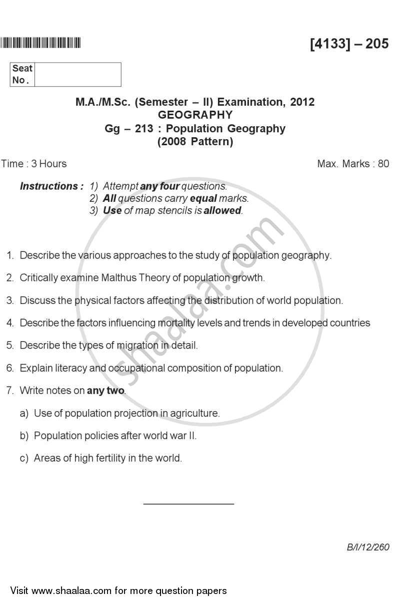 Question Paper - Population Geography 2011 - 2012 - M.A. - Semester 2 - University of Pune