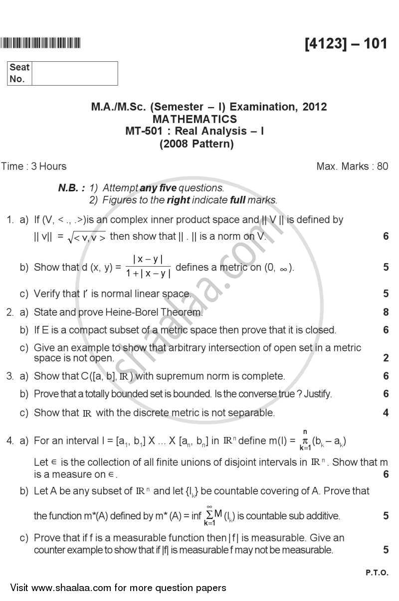 Question Paper - Real Analysis 1 2011 - 2012 - M.A. - Semester 1 - University of Pune