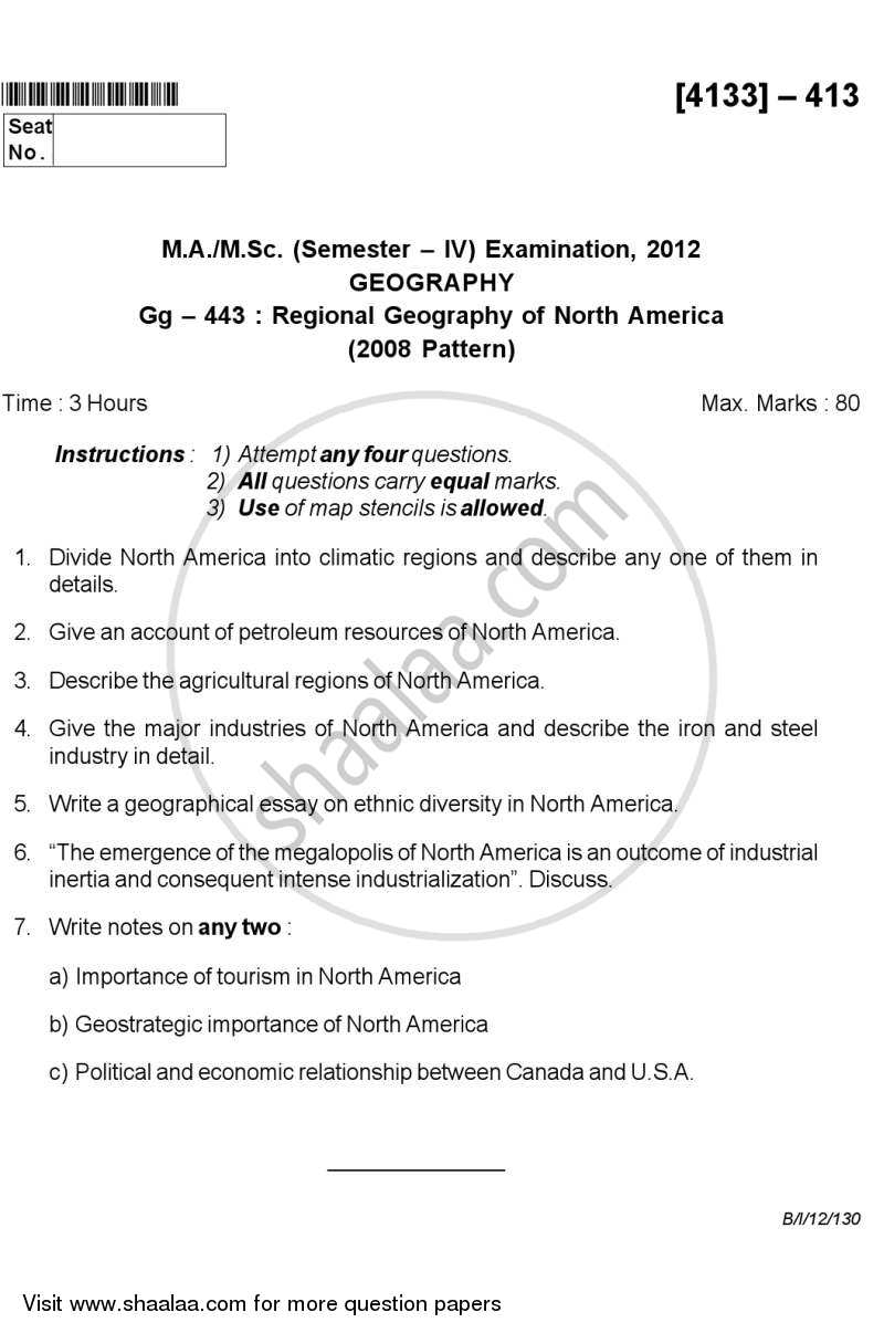 Question Paper - Regional Geography of North America 2011 - 2012 - M.A. - Semester 4 - University of Pune