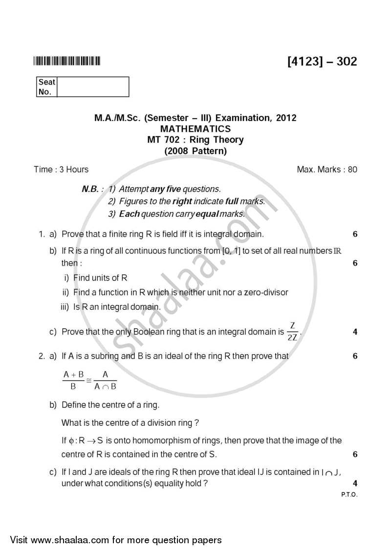 Question Paper - Ring Theory 2011 - 2012 - M.A. - Semester 3 - University of Pune