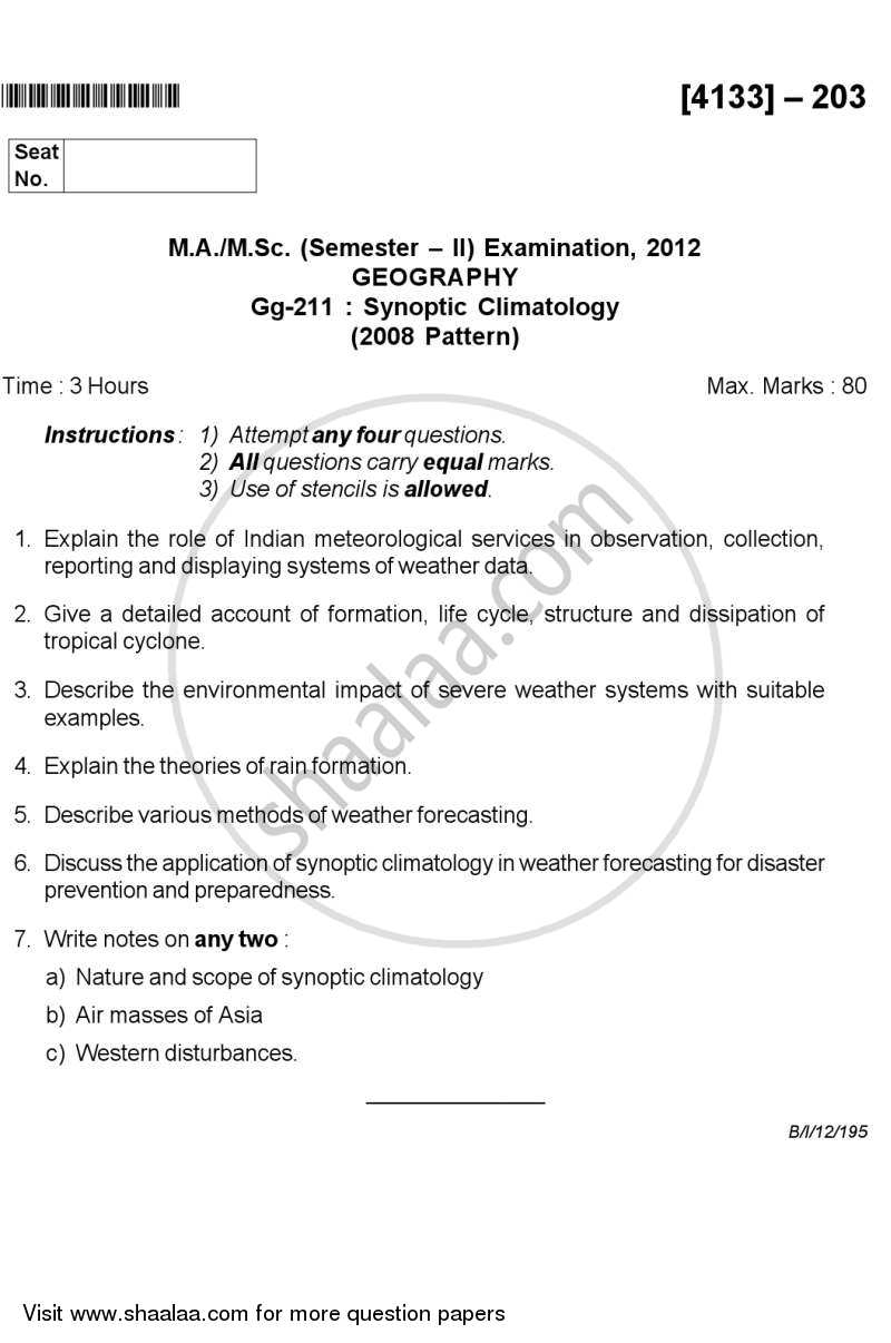 Question Paper - Synoptic Climatology 2011 - 2012 - M.A. - Semester 2 - University of Pune