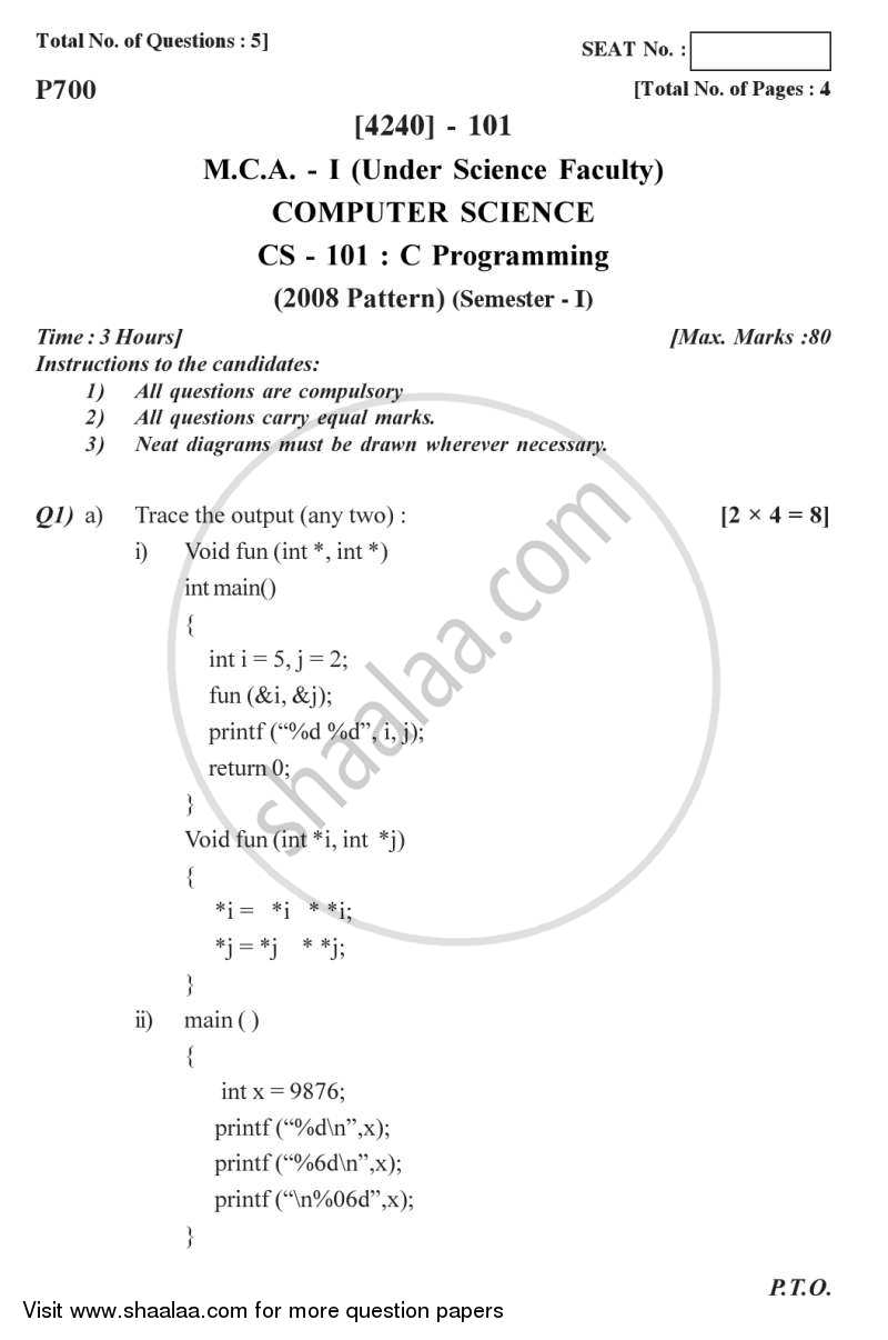 Question Paper - C Programming 2012 - 2013 - M.C.A. - Semester 1 - University of Pune