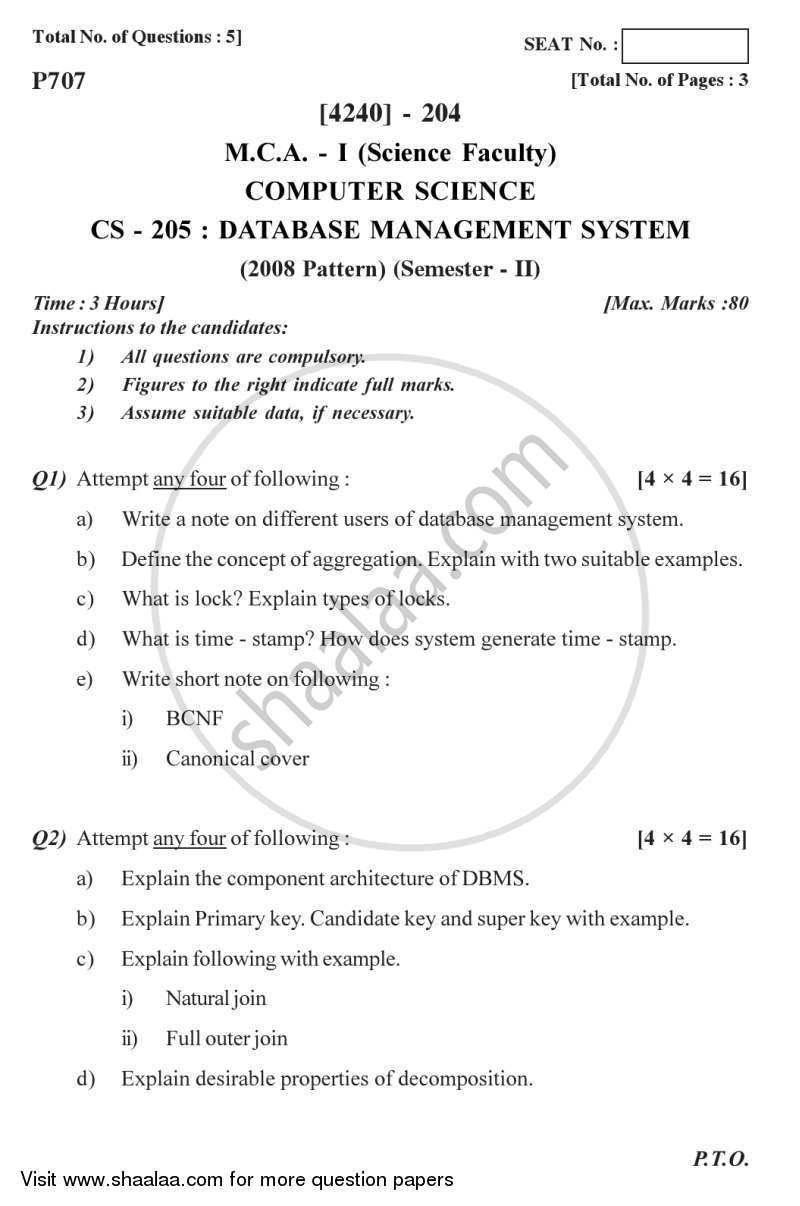 Database Management Systems 2012-2013 - M.C.A. - Semester 2 - University of Pune question paper with PDF download