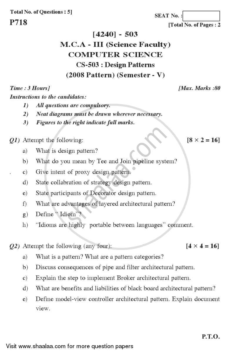 Design Patterns 2012-2013 - M.C.A. - Semester 5 - University of Pune question paper with PDF download
