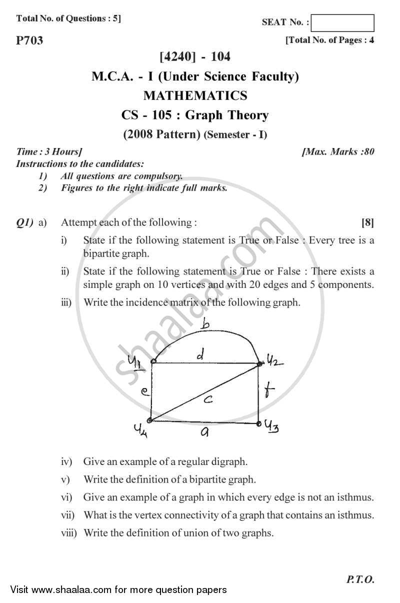 Question Paper - Graph Theory 2012 - 2013 - M.C.A. - Semester 1 - University of Pune