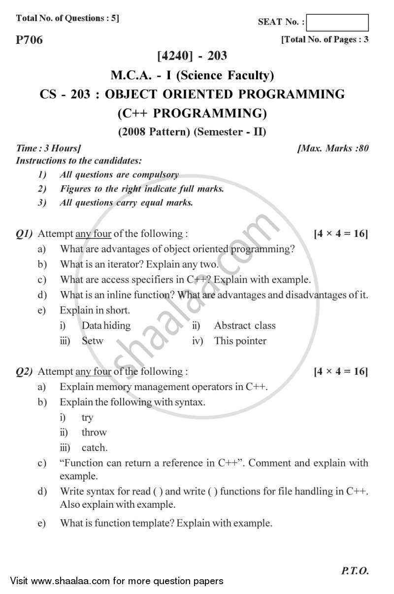 Object Oriented Programming (C++ Programming) 2012-2013 - M.C.A. - Semester 2 - University of Pune question paper with PDF download