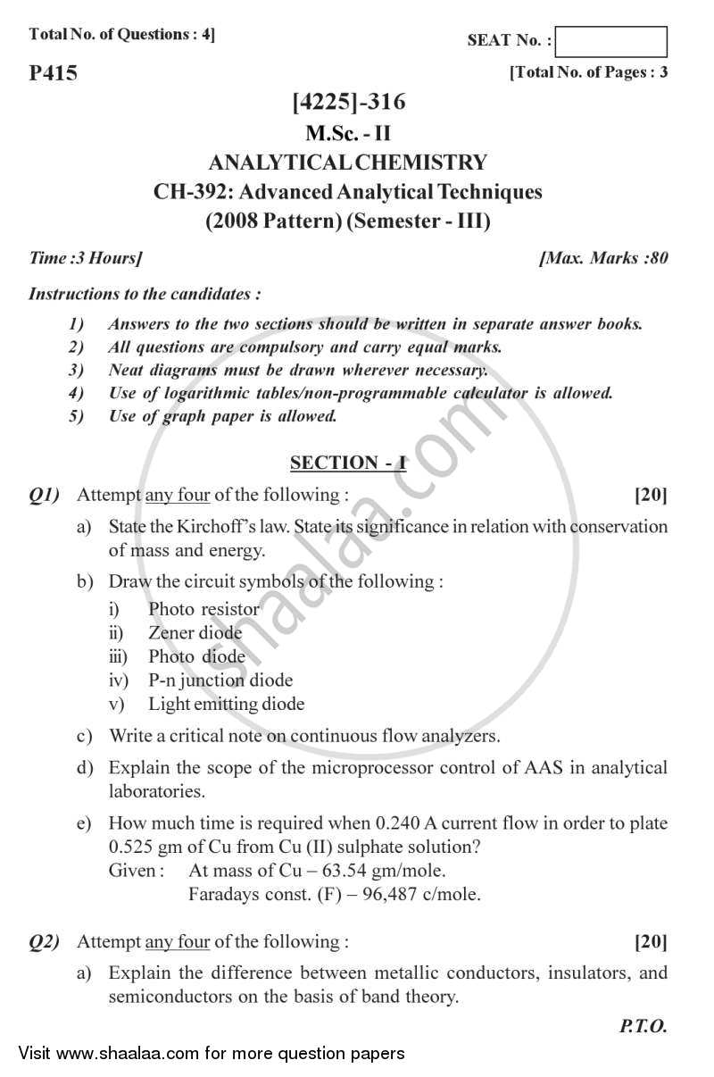 Question Paper - Advanced Analytical Techniques 2012 - 2013 - M.Sc. - Semester 3 - University of Pune