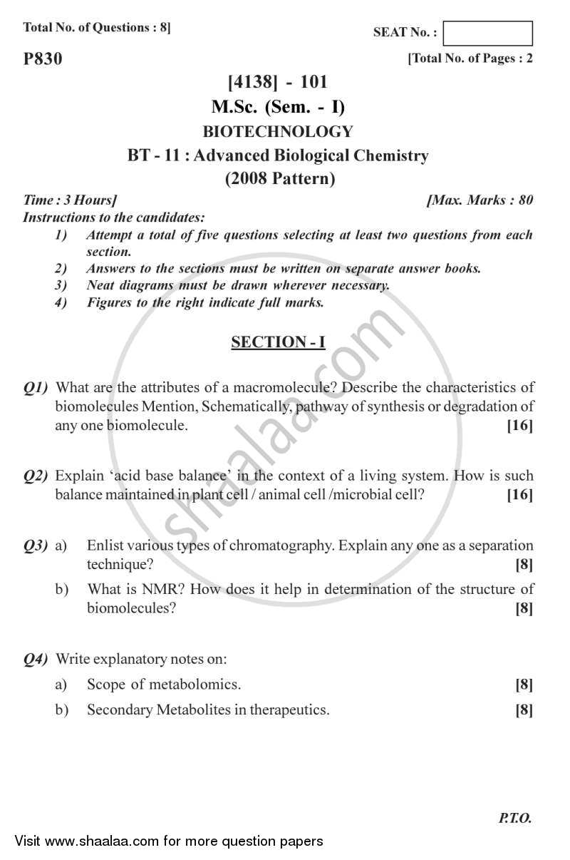 Question Paper - Advanced Biological Chemistry 2011 - 2012 - M.Sc. - Semester 1 - University of Pune