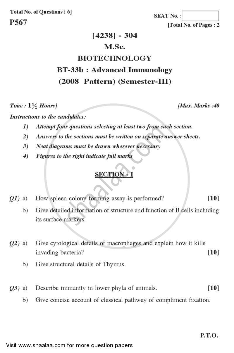 Question Paper - Advanced Immunology 2012 - 2013-M.Sc.-Semester 3 University of Pune