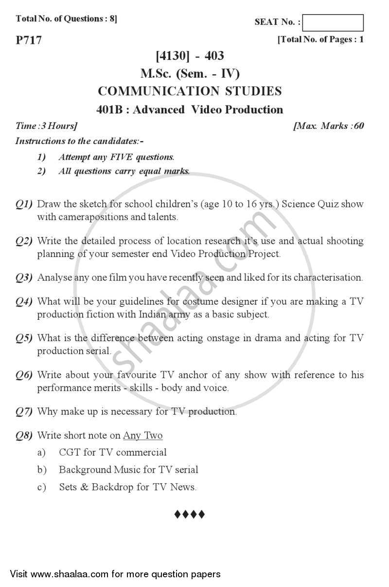 Advanced Video Production 2011-2012 M Sc Communication
