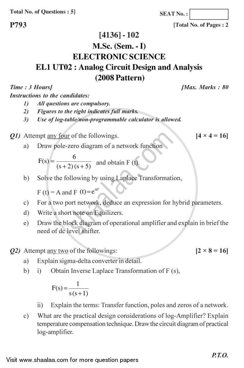 Question Paper - Analog Circuit Design and Analysis 2011 - 2012 - M.Sc. - Semester 1 - University of Pune