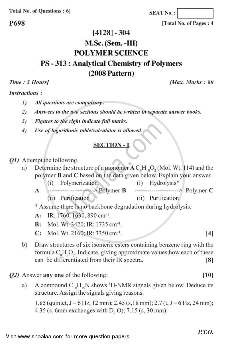 Question Paper - Analytical Chemistry of Polymers 2011 - 2012 - M.Sc. - Semester 3 - University of Pune