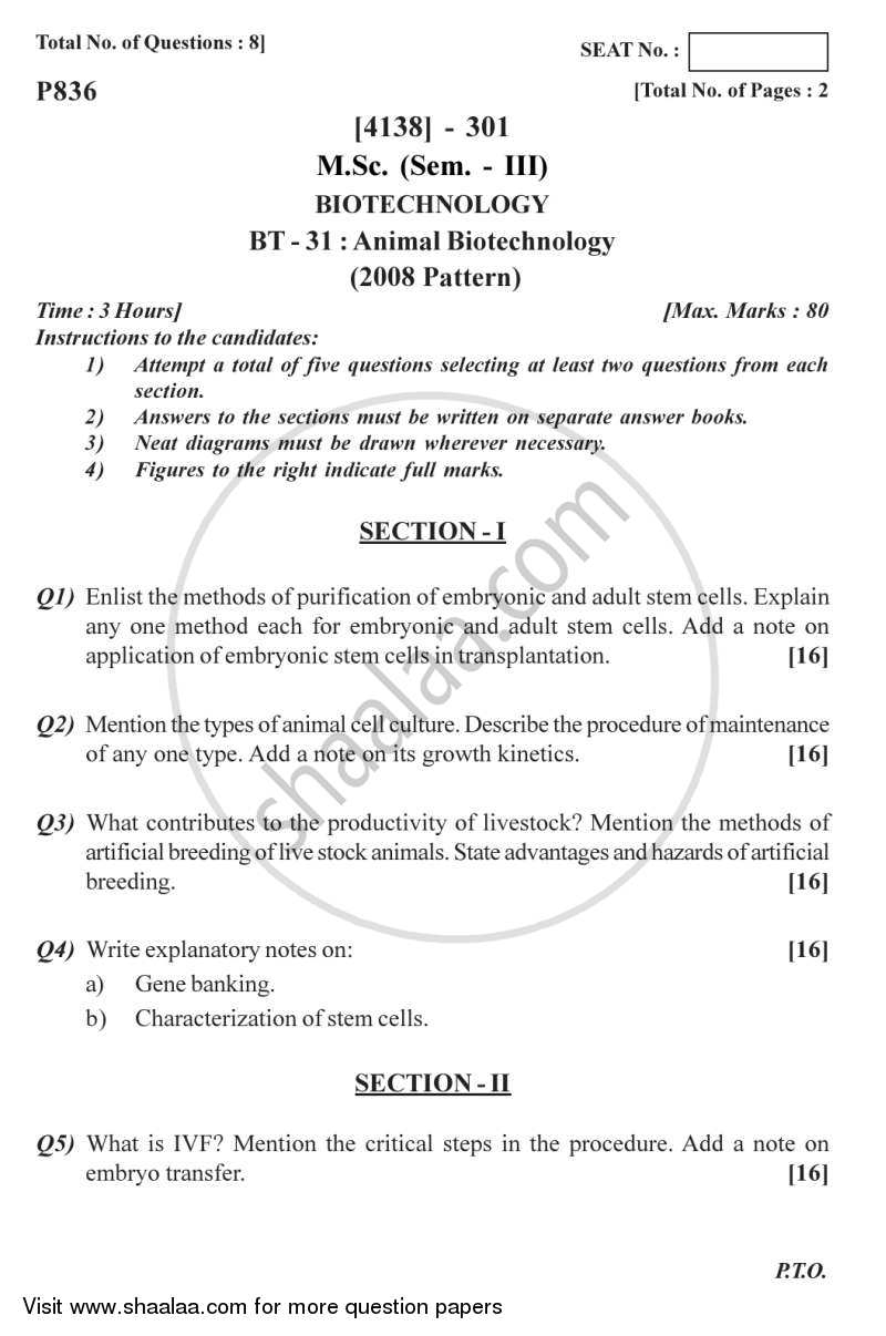 Question Paper - Animal Biotechnology 2011 - 2012 - M.Sc. - Semester 3 - University of Pune