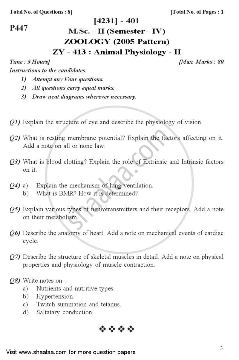 Animal Physiology 2 2012-2013 M Sc Zoology Semester 4 question paper