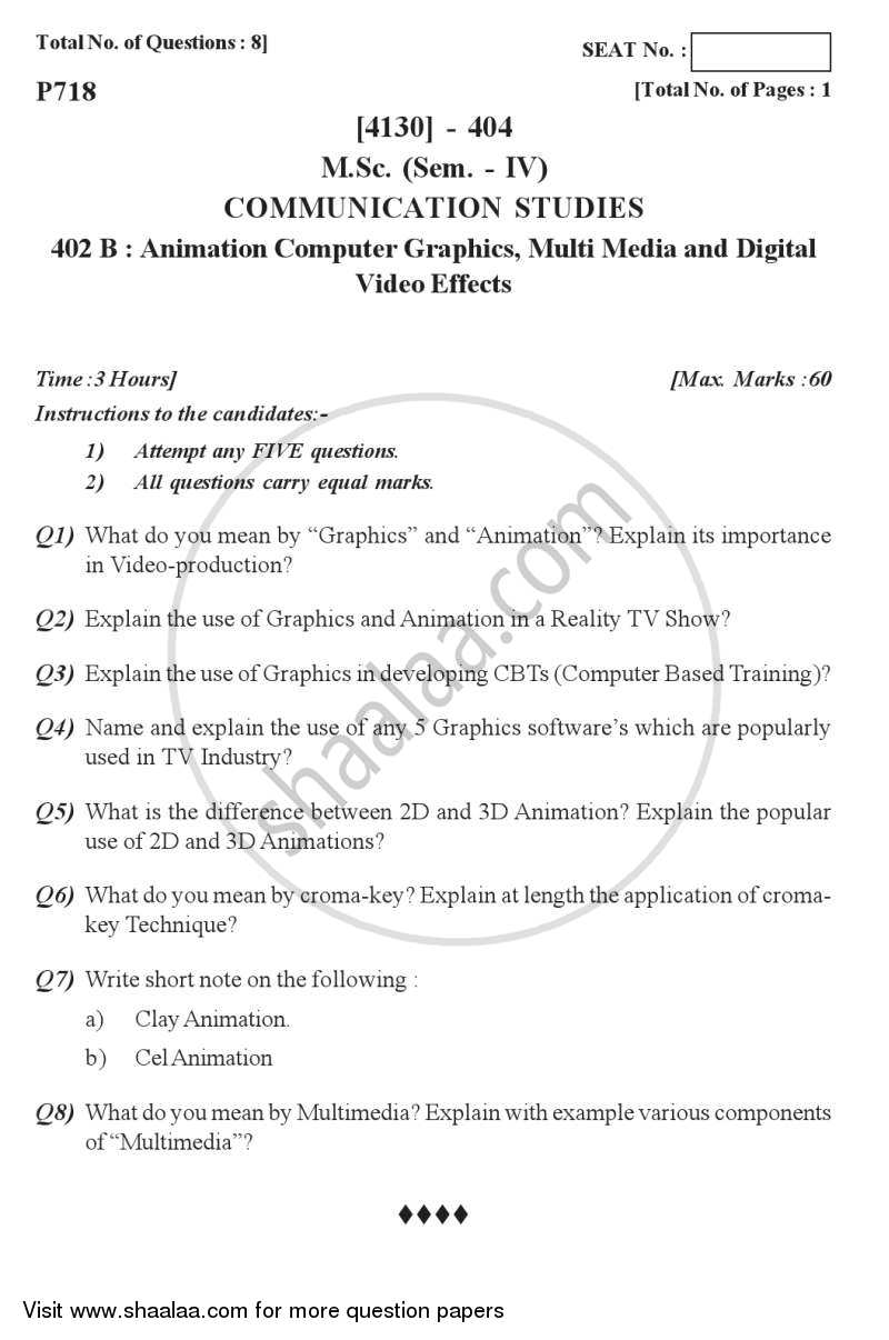Question Paper - Animation, Computer Graphics, Multi-media, Digital Video Effects 2011 - 2012 - M.Sc. - Semester 4 - University of Pune