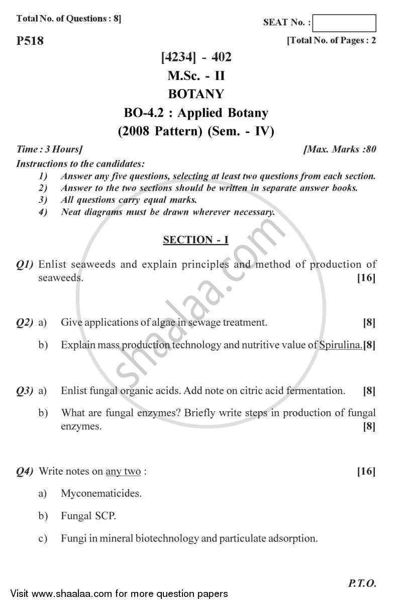 Question Paper - Applied Botany 2012 - 2013 - M.Sc. - Semester 4 - University of Pune