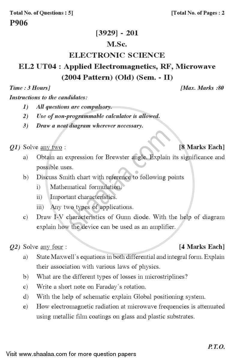 Applied Electromagnetics, RF and Microwave 2011-2012 - M.Sc. - Semester 2 - University of Pune question paper with PDF download
