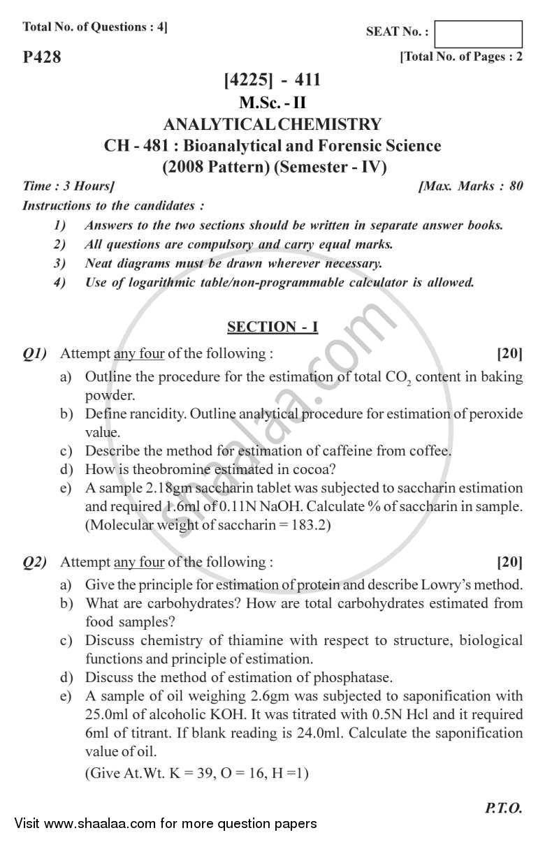 Question Paper - Bioanalytical and Forensic Science 2012 - 2013 - M.Sc. - Semester 4 - University of Pune