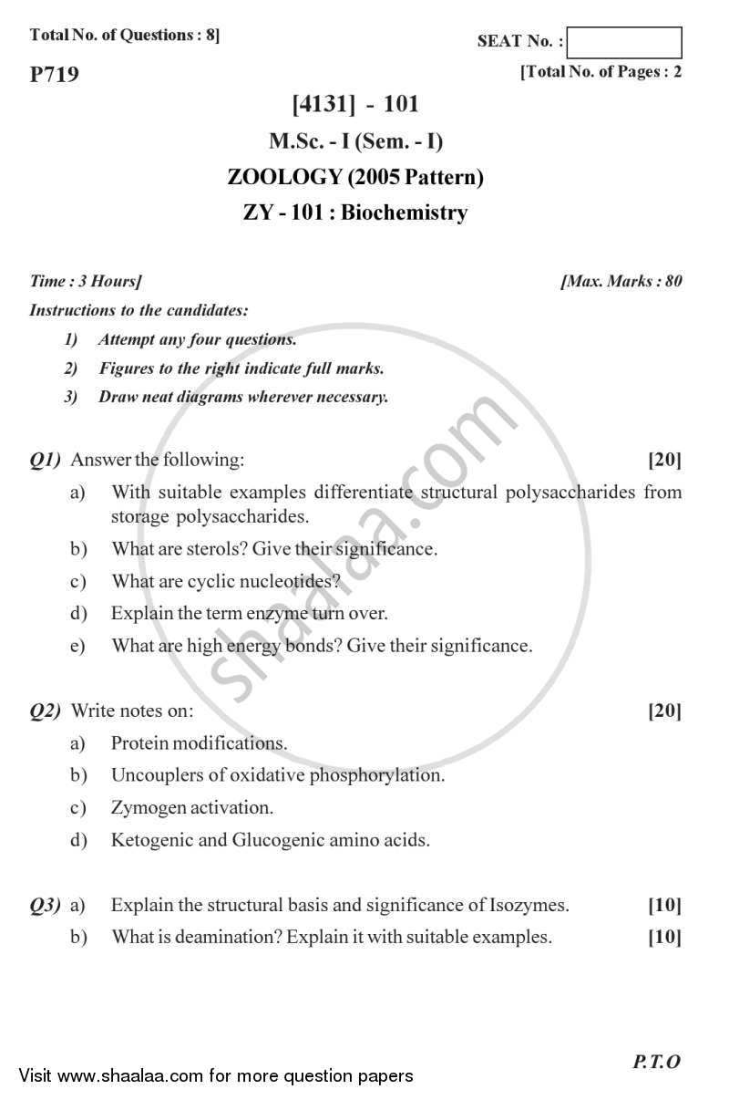 Question Paper - Biochemistry 1 2011 - 2012 - M.Sc. - Semester 1 - University of Pune
