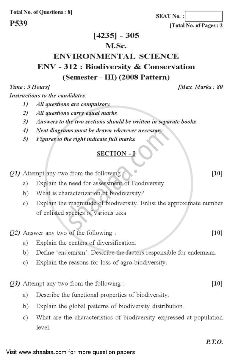 Question Paper - Biodiversity and Conservation 2012 - 2013 - M.Sc. - Semester 3 - University of Pune