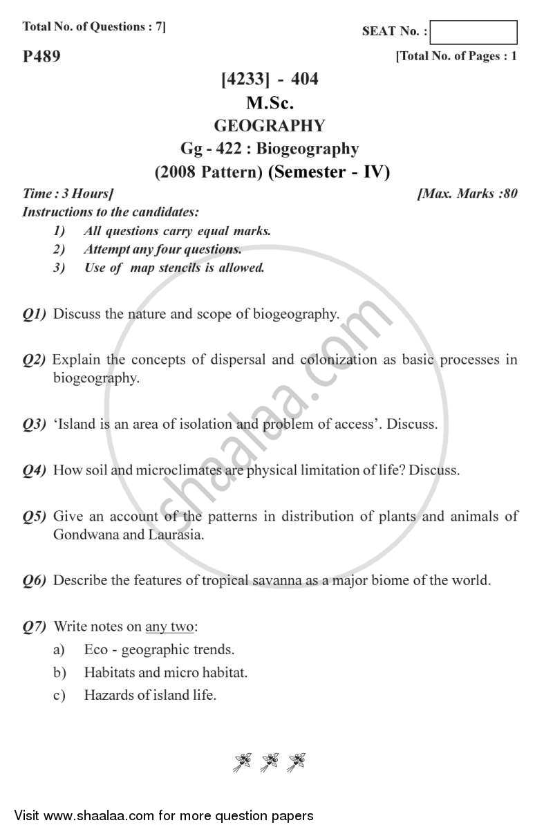 Question Paper - Biogeography 2012 - 2013 - M.Sc. - Semester 4 - University of Pune