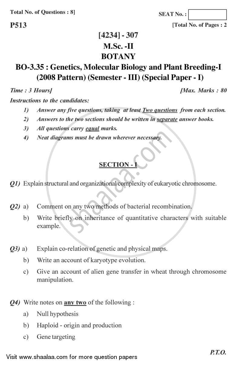 Question Paper - Botany Special Paper - Genetics, Molecular Biology and Plant Breeding 1 2012 - 2013 - M.Sc. - Semester 3 - University of Pune