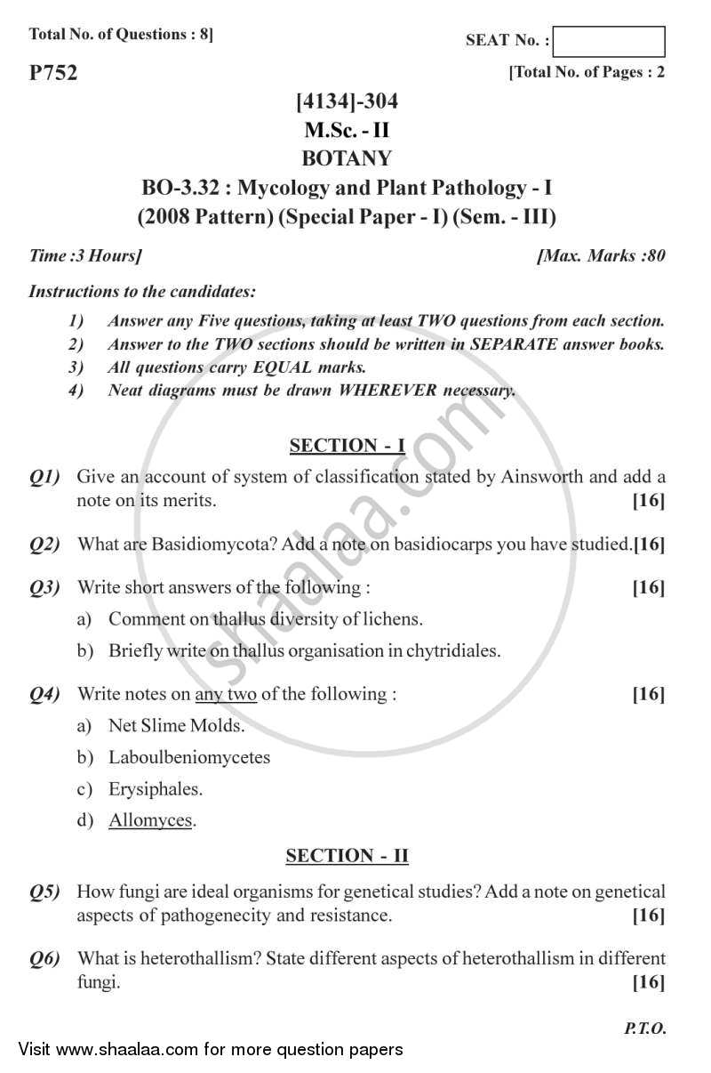 Question Paper - Botany Special Paper - Mycology and Plant Pathology 1 2011 - 2012 - M.Sc. - Semester 3 - University of Pune