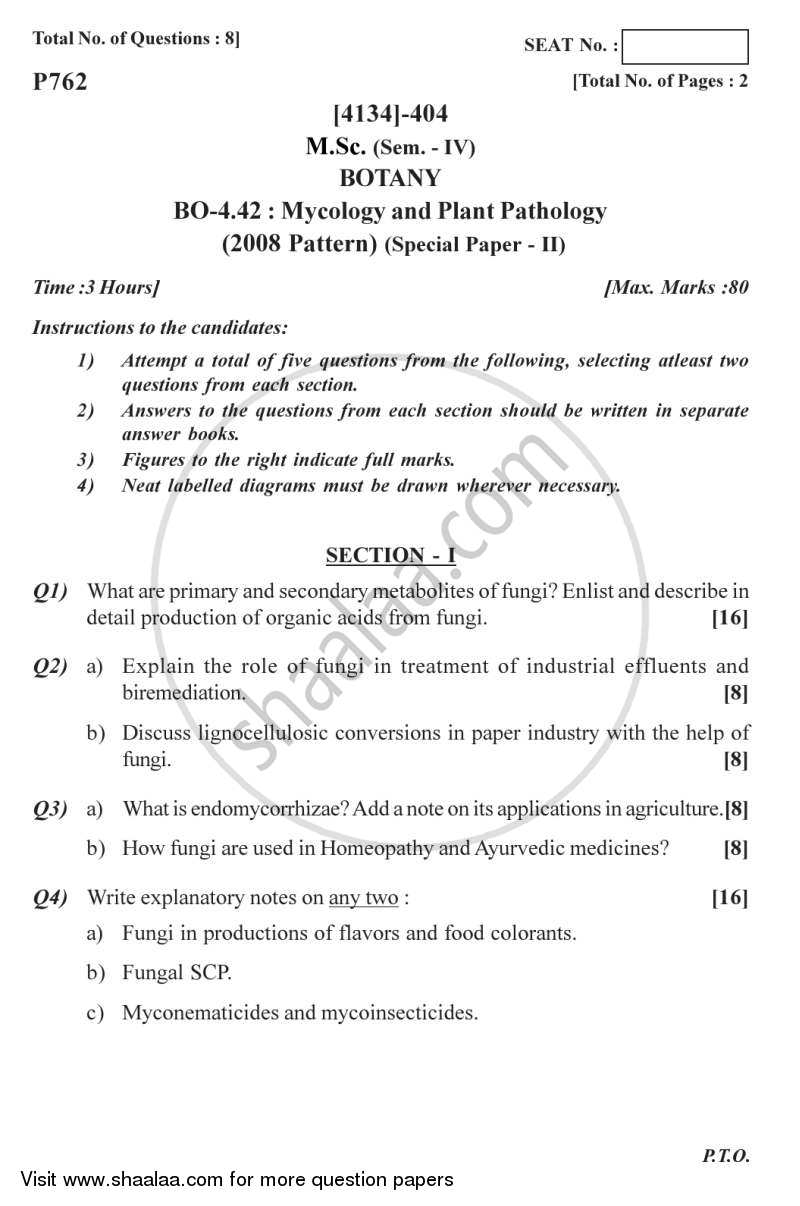 Question Paper - Botany Special Paper - Mycology and Plant Pathology 2 2011 - 2012 - M.Sc. - Semester 4 - University of Pune
