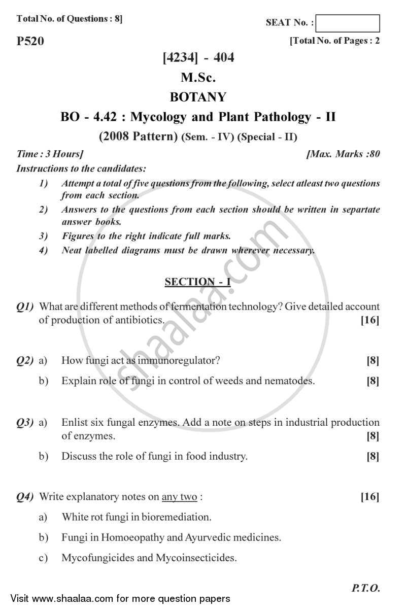 Question Paper - Botany Special Paper - Mycology and Plant Pathology 2 2012 - 2013 - M.Sc. - Semester 4 - University of Pune