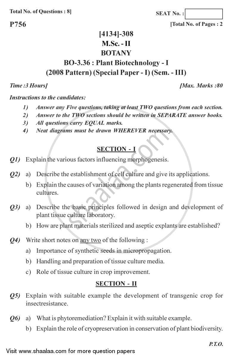 Question Paper - Botany Special Paper - Plant Biotechnology 1 2011 - 2012 - M.Sc. - Semester 3 - University of Pune