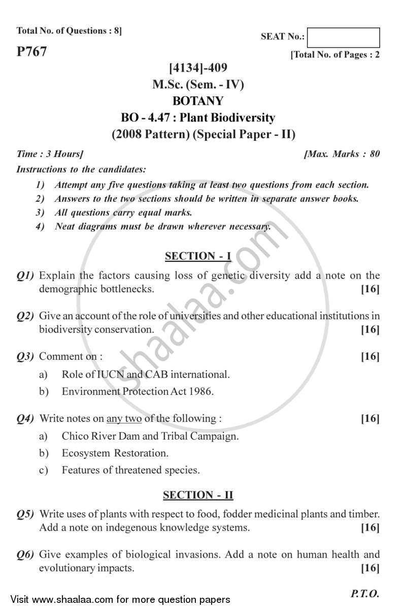Question Paper - Botany Special Paper - Plant Biotechnology 2 2011 - 2012 - M.Sc. - Semester 4 - University of Pune