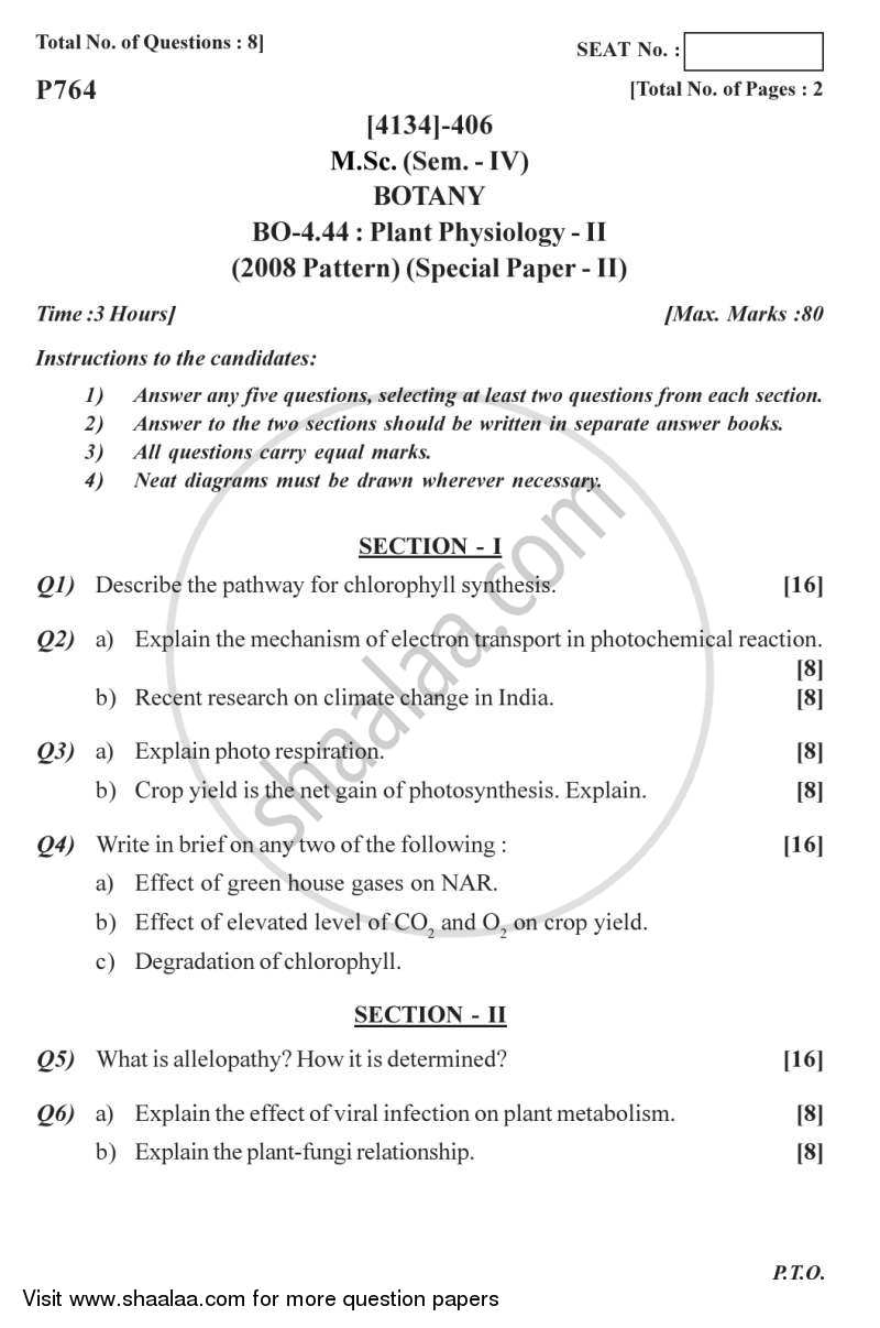 Question Paper - Botany Special Paper - Plant Physiology 2 2011 - 2012 - M.Sc. - Semester 4 - University of Pune